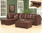 Vinyl Sectional with Storage Ottoman (3 Pcs. Set)