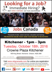 Kitchener Job Fair – October 18th,  2016